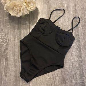 NWOT Boohoo Black Bustier Body Suit
